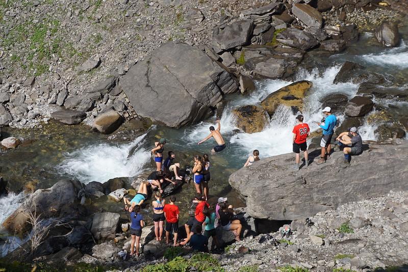 Mr. Garczynski taking a dip in the falls by Lac Tseuzier