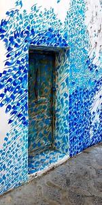 16x32 blue caligraphy on door
