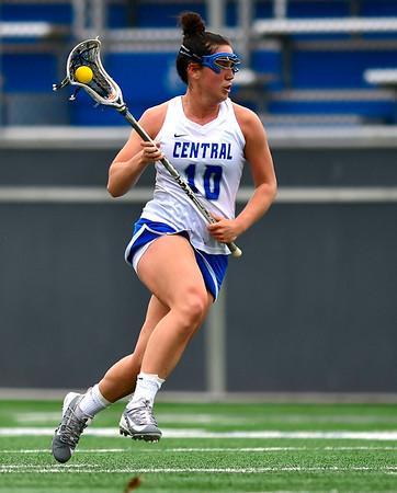 4/20/2019 Mike Orazzi | Staff CCSU Women's Lacrosse's Jane Henry (10) against Wagner in New Britain on Saturday.