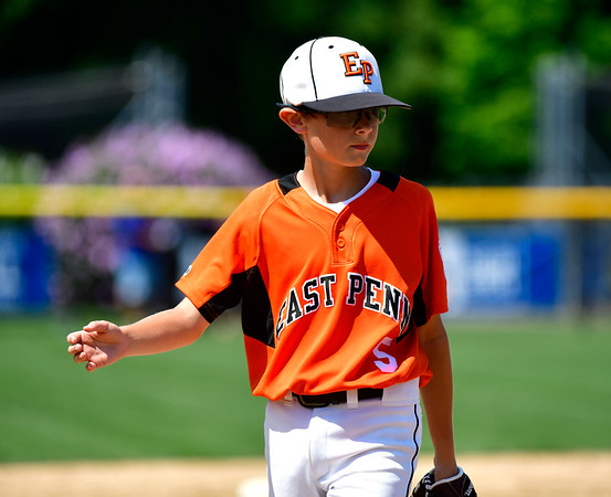 8/4/2019 Mike Orazzi | Staff East Pennsboro Little League's Brody Rafferty (5) during their opening round game of the Little League Mid-Atlantic regional Baseball Tournament in Bristol.