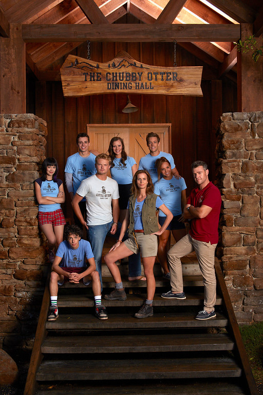 ". CAMP -- Season: 1 -- Pictured: (l-r) Charlotte Nicdao as Grace, Charles Grounds as Buzz Granger, Thom Green as Kip Wampler, Nikolai Nikolaeff as David ""Cole\"" Coleman, Lily Sullivan as Marina Barker, Rachel Griffiths as Mackenzie \""Mack\"" Granger, Tim Pocock as Robbie Eisenberg, Dena Kaplan as Sarah Brennen, Rodger Corser as Roger Shepard -- (Photo by: John Tsiavis/NBC)"