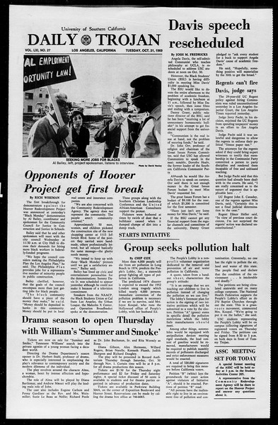 Daily Trojan, Vol. 61, No. 27, October 21, 1969