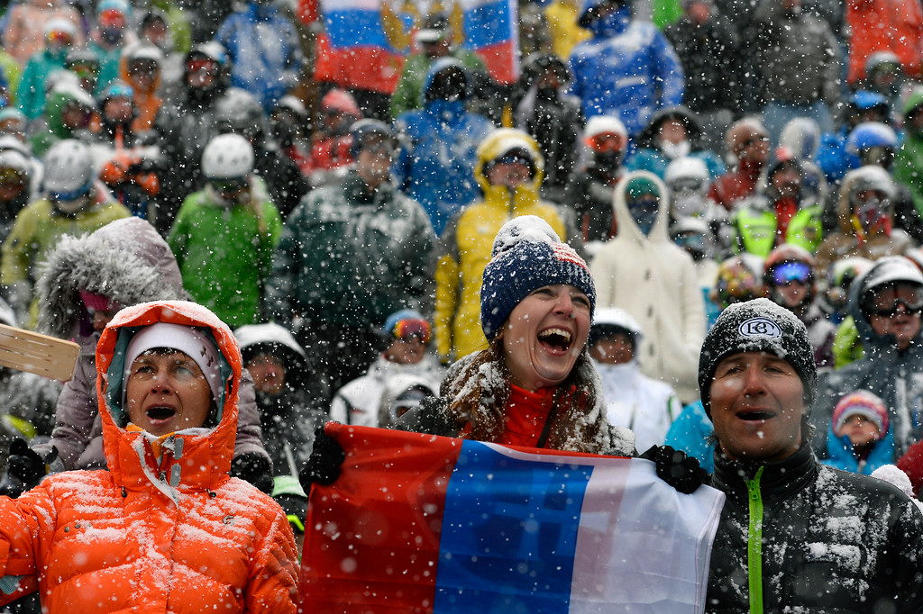 . BEAVER CREEK, CO - FEBRUARY 15: Ivete Blantikova, middle, her mother Anna, left and husband Lucas, right, all of Slovakia, cheer for the ski racers as they finish the Men\'s Slalom at the FIS Alpine World Ski Championships in Beaver Creek, CO on February 15, 2015. (Photo By Helen H. Richardson/The Denver Post)