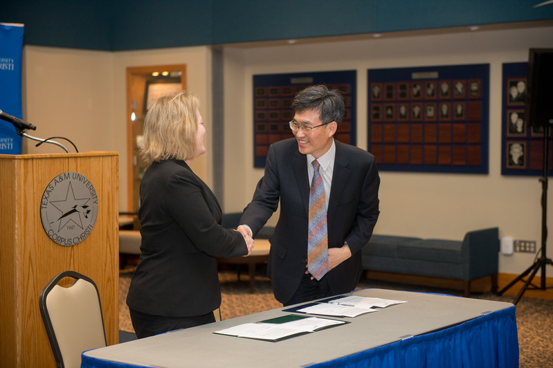 Dr. Kelly M. Quintanilla (left), president and CEO of Texas A&M University-Corpus Christi and Mr. Heonsoo Kim, Principal of Sejong Academy.