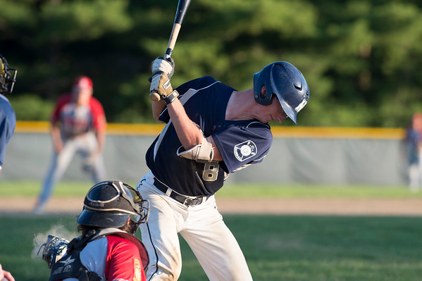 07/08/19 Wesley Bunnell | Staff Newington baseball defeated Bristol in an American Legion game in Newington on Monday July 8, 2019. John DeGirolamo (8) takes an inside pitch for ball four.