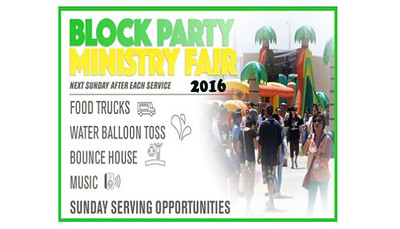 Sunday 08/28/16 Block Party & Ministry Fair