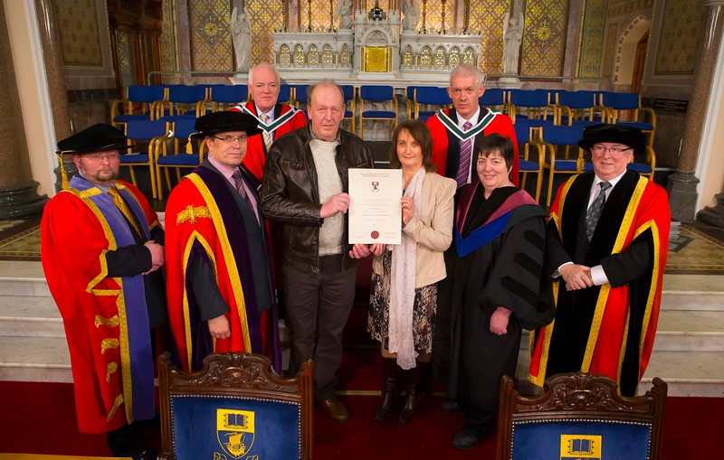 Waterford Institute Of Technology Conferring. Pictured at WIT Waterford Institute Of Technology Conferring is Walter and Joan Comerford from Kilkenny who collected the Graduation Cert on behalf of their son Niall who passed away. Picture: Patrick Browne