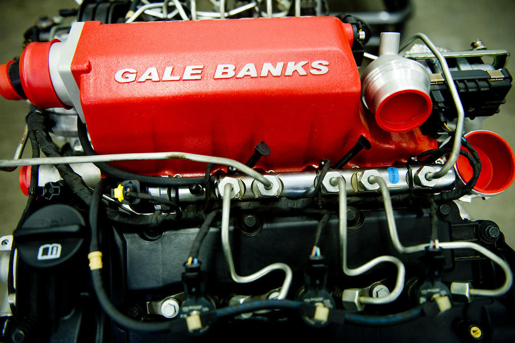 . One of Gale Banks\' engine at the Azusa business on Thursday, July 22, 2013. Gale Banks is celebrating 55 years in business. The manufacturing and engineering company produces products for high-performance cars and trucks. (SGN/Staff photo by Watchara Phomicinda)