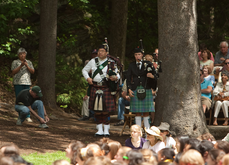 Day 3 - The pipers are ready to lead the class to Dartmouth Hall for the class photo