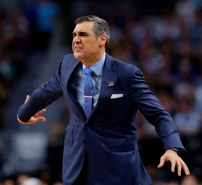 . Villanova head coach Jay Wright reacts during the second half in the championship game of the Final Four NCAA college basketball tournament against Michigan, Monday, April 2, 2018, in San Antonio. (AP Photo/Eric Gay)