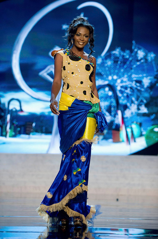 . Miss Gabon Channa Divouvi performs onstage at the 2012 Miss Universe National Costume Show at PH Live in Las Vegas, Nevada December 14, 2012. The 89 Miss Universe contestants will compete for the Diamond Nexus Crown on December 19, 2012. REUTERS/Darren Decker/Miss Universe Organization L.P./Handout