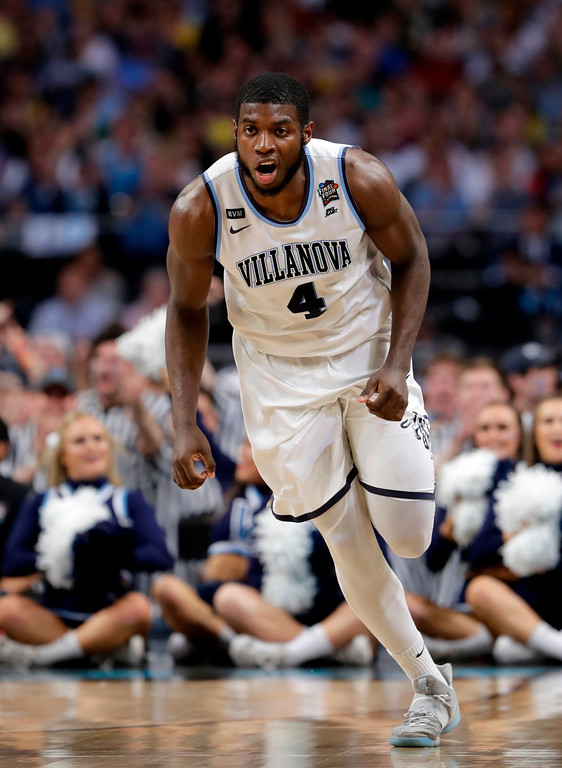 . Villanova forward Eric Paschall reacts after making a basket during the second half against Michigan in the championship game of the Final Four NCAA college basketball tournament, Monday, April 2, 2018, in San Antonio. (AP Photo/Eric Gay)