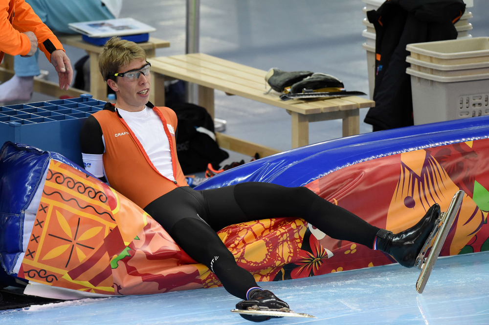 . Netherlands\' Jorrit Bergsma reacts after the Men\'s Speed Skating 5000m at the Adler Arena during the 2014 Sochi Winter Olympics on February 8, 2014. (DAMIEN MEYER/AFP/Getty Images)