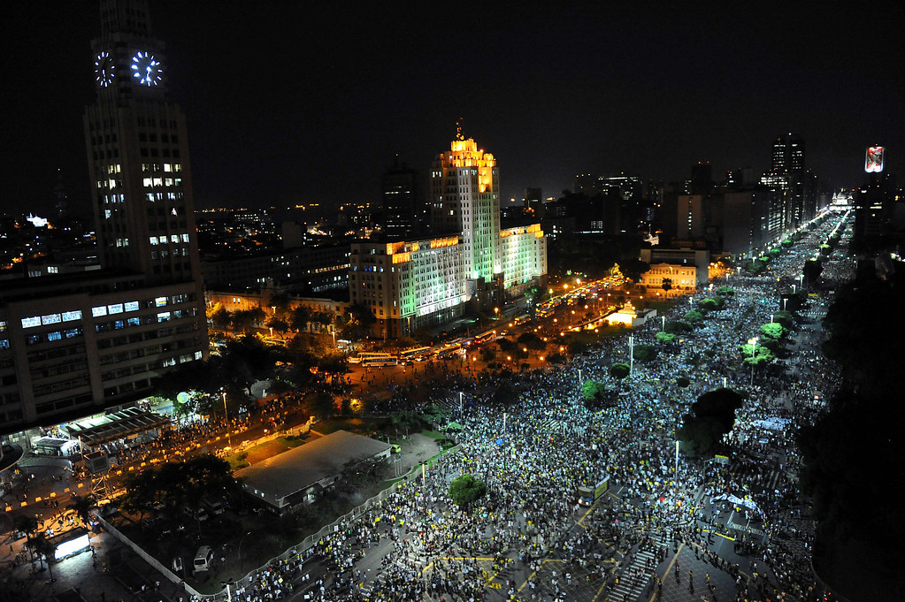 . People march in downtown Rio de Janeiro on June 20, 2013, during a protest of what is now called the \'Tropical Spring\' against corruption and price hikes.  AFP PHOTO / TASSO MARCELO/AFP/Getty Images