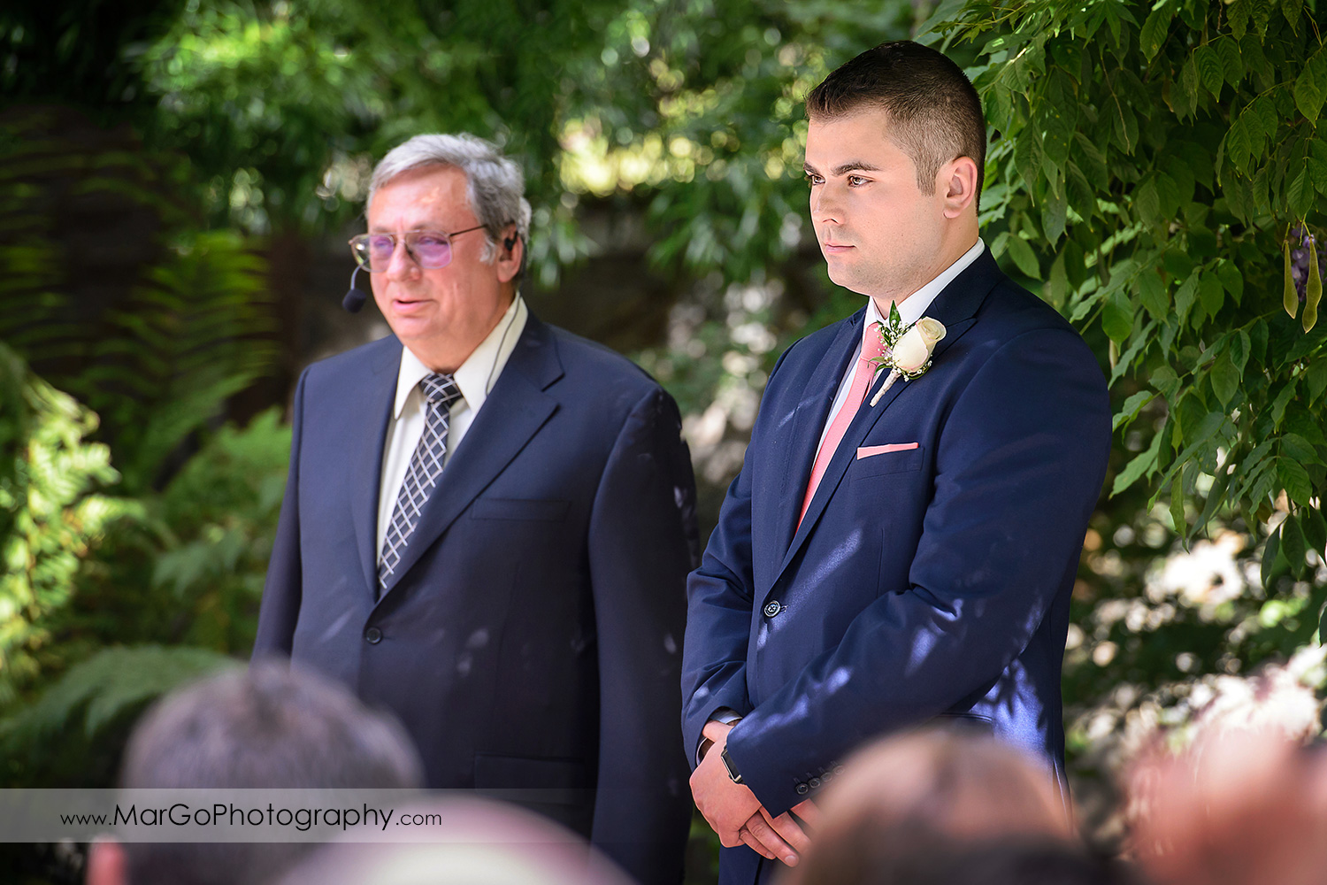 groom waiting for bride walking down the aisle during wedding ceremony at Saratoga Foothill Club