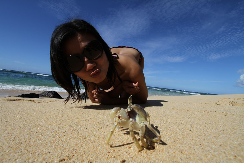 Tu found a crab.  She wanted to give the crab a very big kiss. The crab didn't appear to be in the mood actually.