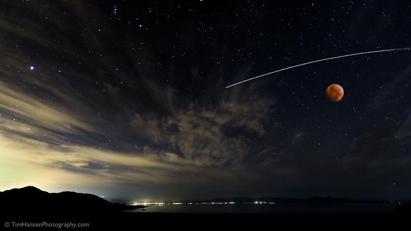 Blood Moon over Great Salt Lake, Antelope Island