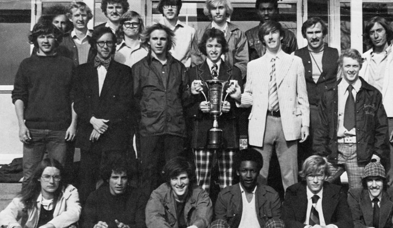 Possible photo for athletics history article written by Janice Beetle. This is a photo of the 1974 Westfield State men's track and field team that claimed track and field MASCAC (Massachusetts State College Athletics Conference) champion in the track and field program's storied history.