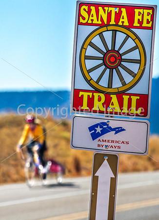 New Mexico - Cyclist on Santa Fe Trail near Pecos Nat'l Historical Park