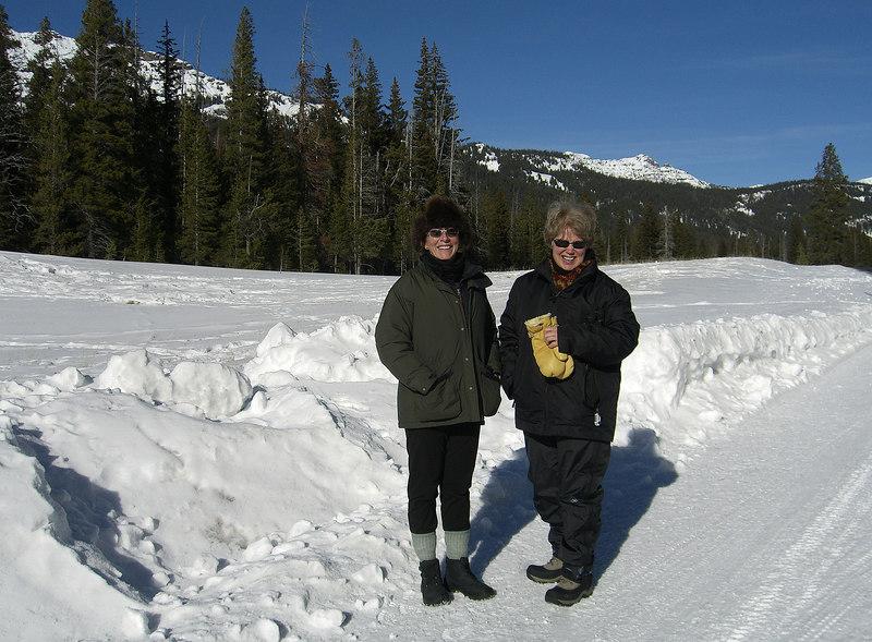 "Jeri Edwards and Linda Seaman enjoying a ""warm"" afternoon"