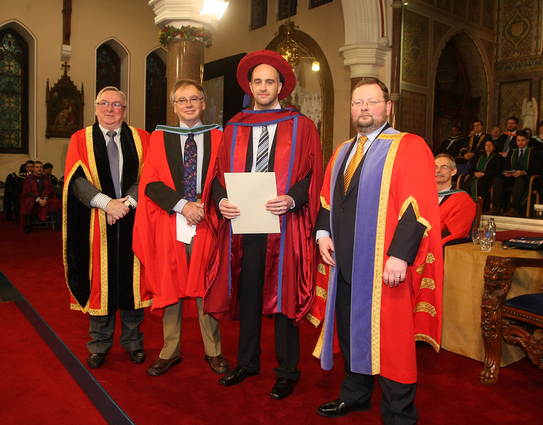 Pictured is Raymond Carroll, Kilkenny who was conferred a Doctor of Philosophy, also pictured is Dr Donie Ormonde, WIT Chairman, Dr. Willie Donnelly, Head of Research and Innovation at WIT and Dr. Derek O'Byrne, Registrar of WIT. Picture: Patrick Browne.