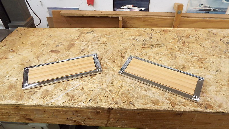 Step pads fit into step pad frames. After they are sanded teak oil will be applied.