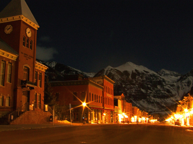 Telluride Main Street in the winter at night.