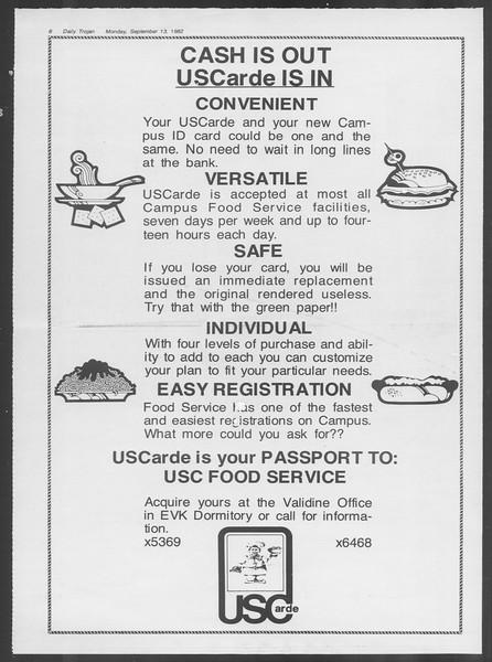 Daily Trojan, Vol. 92, No. 5, September 13, 1982