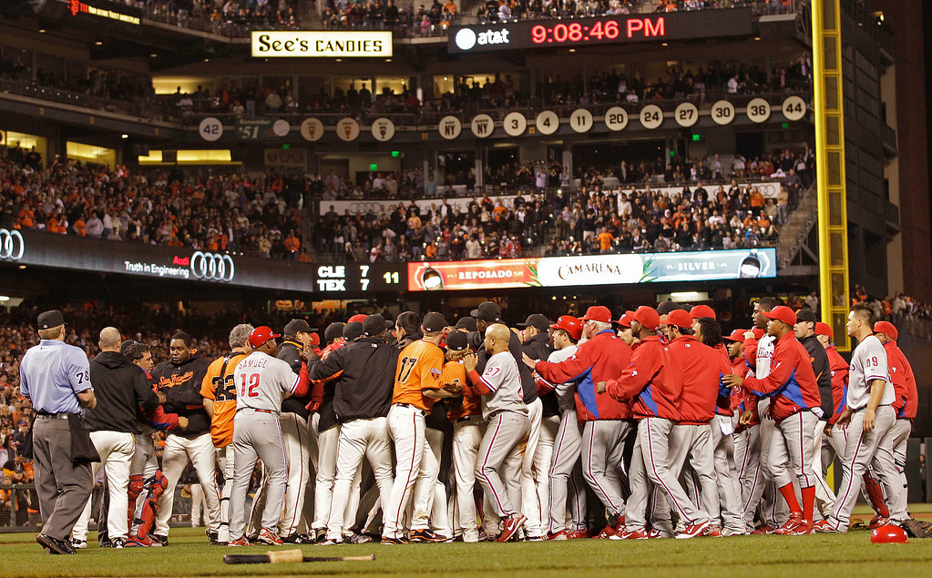 . San Francisco Giants and Philadelphia Phillies participate in a benches clearing brawl during the sixth inning of a baseball game Friday, Aug. 5, 2011, in San Francisco. (AP Photo/Ben Margot)