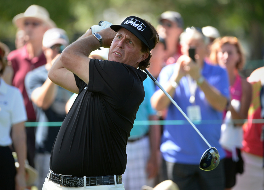 . CHERRY HILLS VILLAGE, CO. - SEPTEMBER 03:  Phil Mickelson tees off the #2 tee box during the FedExCup BMW Championship Pro-Am at the Cherry Hills Country Club Wednesday afternoon,  September 03, 2014. (Photo By Andy Cross / The Denver Post)