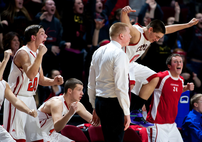 BANGOR, Maine -- 02/17/2017 -- Central celebrates after defeating Winslow during their Class B boys basketball quarterfinal game at the Cross Insurance Center in Bangor Friday. Ashley L. Conti   BDN
