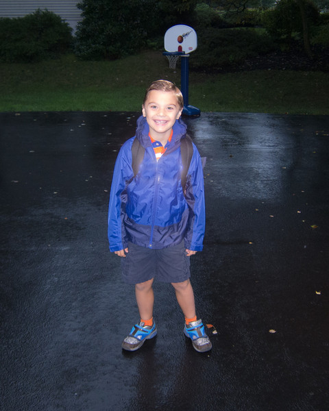 K.C. started 1st grade on a rainy day this year.