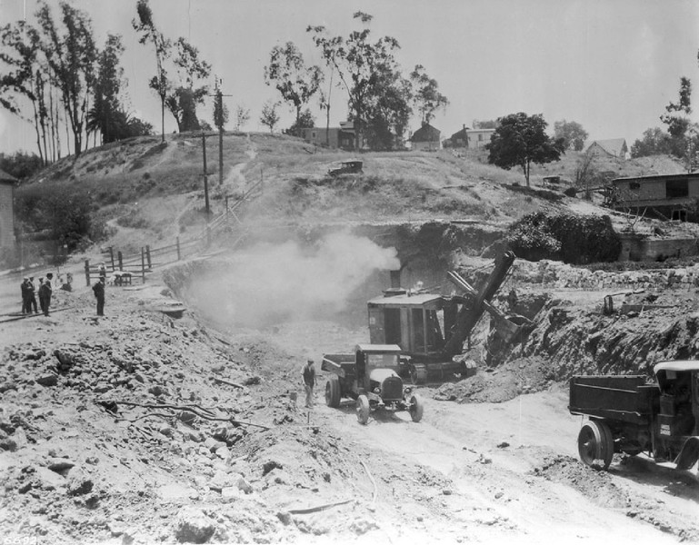 First Street Entrance to the Pacific Electric Subway Tunnel under construction between First Street and Glendale Boulevard, ca.1926