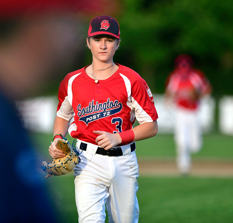 7/31/2019 Mike Orazzi | Staff Southington's Bryce Worth (3) during Tuesday evenings American Legion Baseball game with Waterford in South Windsor.