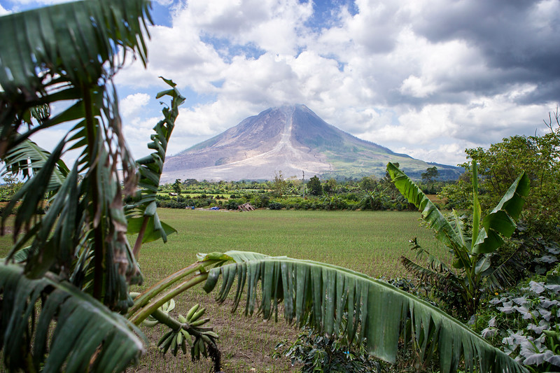 Mount Sinabung is an active volcano near Lake Toba