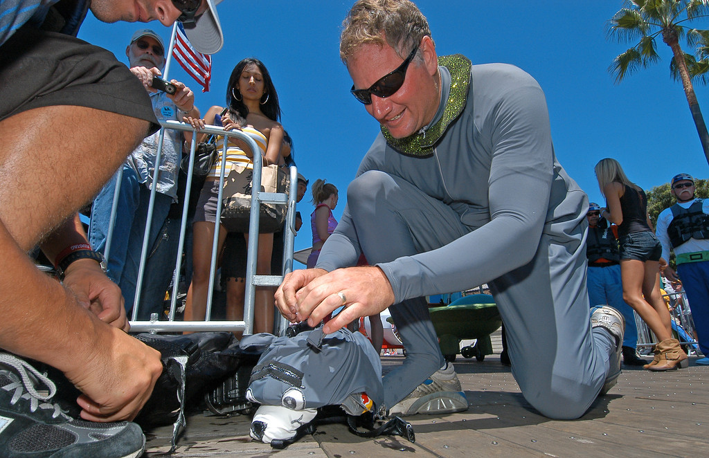 . 08/21/10:  Pilot Robert Weaver dressed as Astro from the Jetsons is geared with a helmet camera prior to his team\'s flight at the Red Bull Flugtag Long Beach at Rainbow Harbor on Saturday, August 21, 2010..Photo by Diandra Jay/Press-Telegram