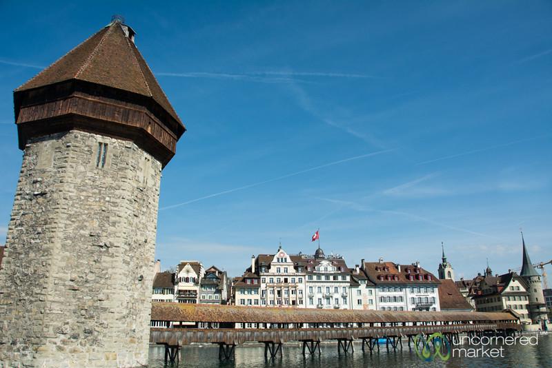 Wasserturm (Water Tower) and Kapellbrucke (Chapel Bridge) in Lucerne, Switzerland