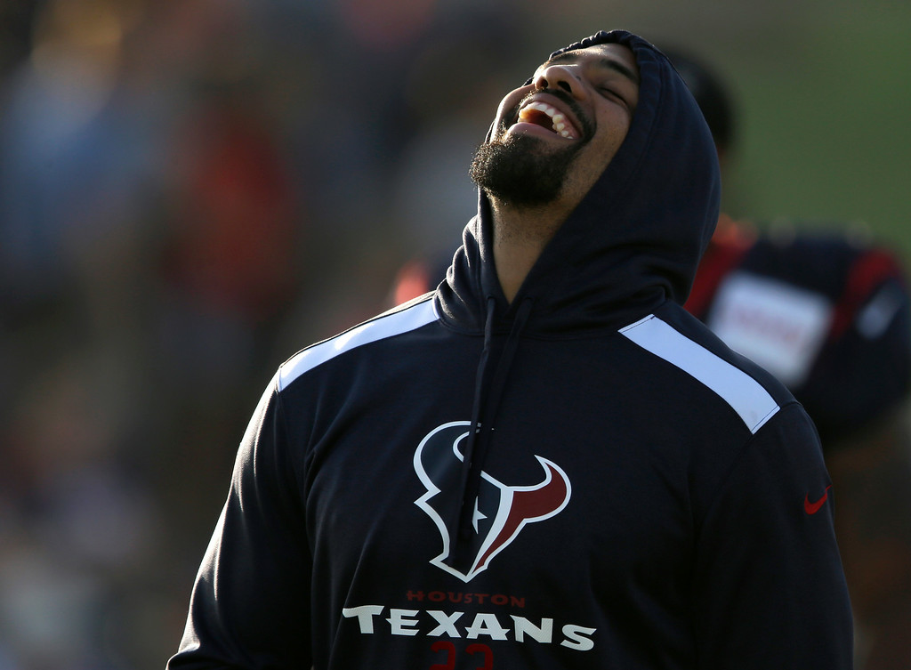 . Houston Texans running back Arian Foster laughs during NFL football training camp Monday, July 28, 2014, in Houston. (AP Photo/Pat Sullivan)