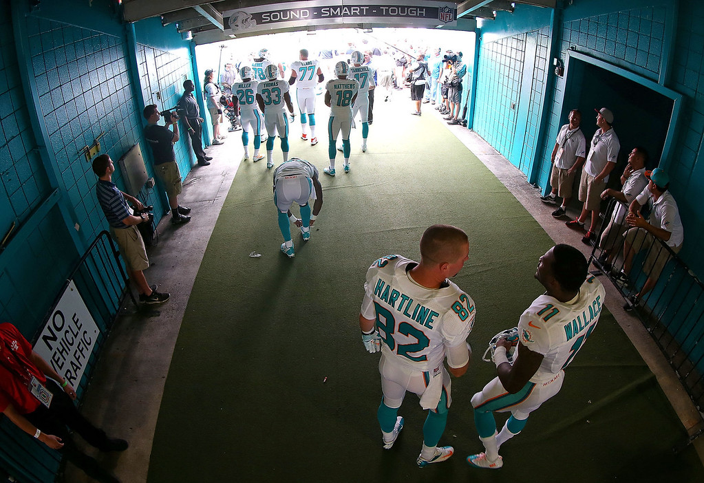 . Brian Hartline #82 and Mike Wallace #11 of the Miami Dolphins talk during a game against the New England Patriots at Sun Life Stadium on December 15, 2013 in Miami Gardens, Florida.  (Photo by Mike Ehrmann/Getty Images)