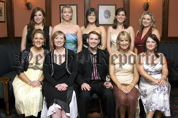 Ivan Stone from Bangor, who was presented the Best Holistics Student of the Year at the annual You Nique School of Beauty & Holistics Awards Night is pictured with the other students of the course, Kathy Casey and Lisa Mallon, course tutors and Aine Larkin, principal of the College.