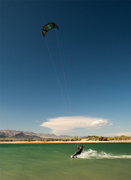 Kiteboarding on Lake Mojave