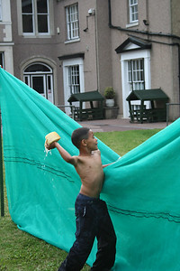 Chil end of term water fight