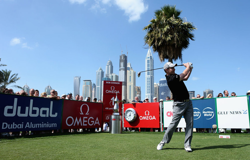 . Stephen Gallacher of Scotland tees off on the first hole during the final round of the Omega Dubai Desert Classic at Emirates Golf Club on February 3, 2013 in Dubai, United Arab Emirates.  (Photo by Warren Little/Getty Images)