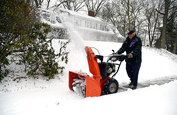 3/2/2019 Mike Orazzi | Staff Les Kish while clearing snow along Belridge Road in Bristol Saturday.