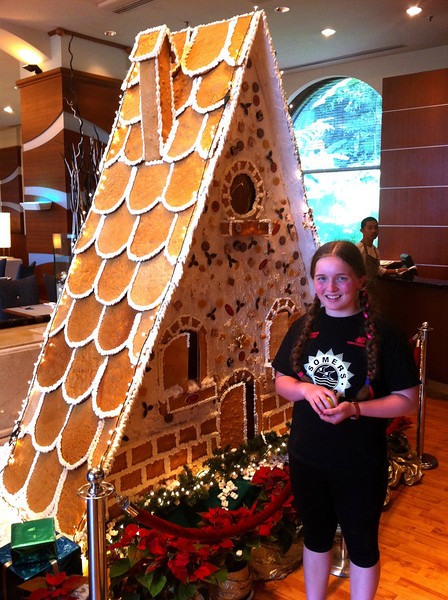 Matilda and a rather large Ginger bread house at the entrance to the Pan Pacific KL restaurant.