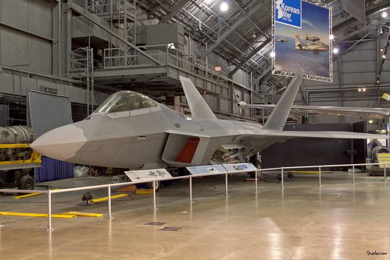 National Museum of the United States Air Force, Dayton, Ohio,   04/13/2019  Lockheed Martin F-22A Raptor, C/N: 4003   91-4003, one of nine F-22s built for Engineering, Manufacture and  Development (EMD) testing.   Painted to represent an  F-22A flown by the 1st Fighter Wing  This work is licensed under a Creative Commons Attribution- NonCommercial 4.0 International License.