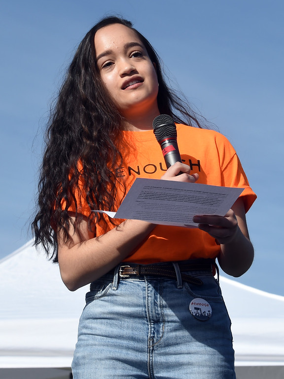 . Ayesha Rawal speaks at Fairview High School in Boulder. Students at schools across Boulder County and Broomfield walked out of class around 10 this morning as they took part in the nationwide protest of gun violence on the one-month anniversary of the massacre at a high school in Parkland, Fla., that left 17 dead. Cliff Grassmick  Photographer  March 14, 2018