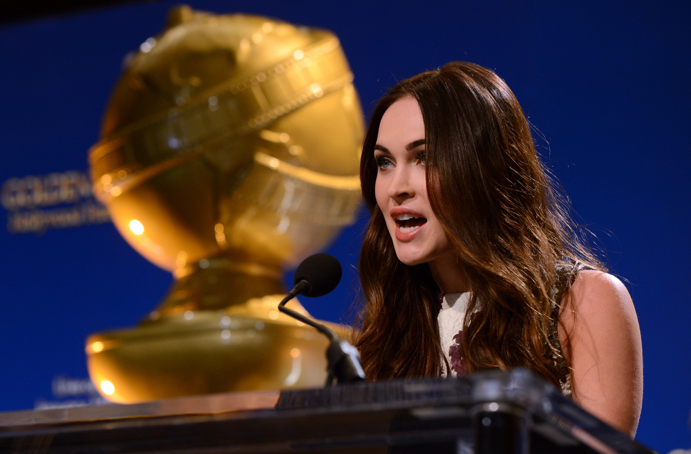 . Actress Megan Fox speaks onstage during the 70th Annual Golden Globes Awards Nominations at the Beverly Hilton Hotel on December 13, 2012 in Los Angeles, California.  (Photo by Kevin Winter/Getty Images)