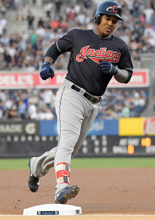 . Cleveland Indians\' Jose Ramirez rounds the bases after hitting a home run during the first inning of a baseball game against the New York Yankees Monday, Aug. 28, 2017, at Yankee Stadium in New York. (AP Photo/Bill Kostroun)