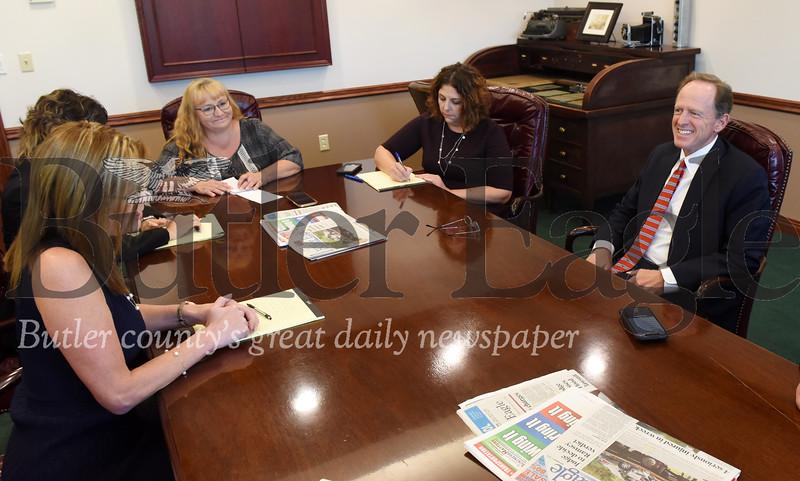 Harold Aughton/Butler Eagle: Senator Pat Toomey meets with the Butler Eagle editorial board.
